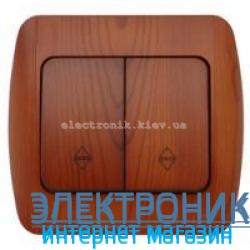 Выключатель 2-клавишный проходной вишня EL-BI Zirve Woodline