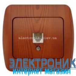 Розетка одинарная телефонная RJ11 вишня EL-BI Zirve Woodline