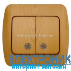 Выключатель 2-клавишный с подсветкой.LED бук EL-BI Zirve Woodline