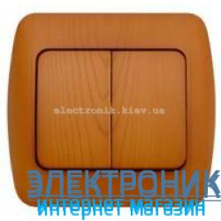 Выключатель 2-клавишный  EL-BI Zirve Woodline