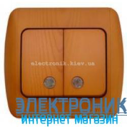 Выключатель 2-клавишный с подсветкой.LED дуб EL-BI Zirve Woodline