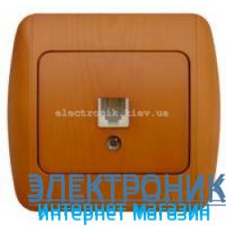 Розетка одинарная телефонная RJ11 дуб EL-BI Zirve Woodline