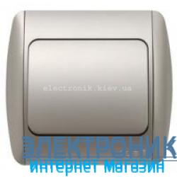 Выключатель 1-клавишный серый металлик EL-BI Zirve Silverline