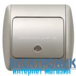 Выключатель 1-клавишный с подсветкой.LED серый металлик EL-BI Zirve Silverline