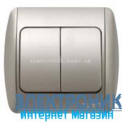 Выключатель 2-клавишный серый металлик EL-BI Zirve Silverline