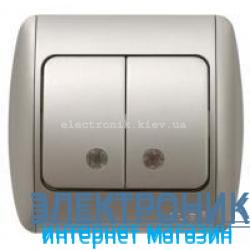 Выключатель 2-клавишный с подсветкой.LED серый металлик EL-BI Zirve Silverline