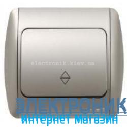 Выключатель 1-клавишный проходной серый металлик EL-BI Zirve Silverline
