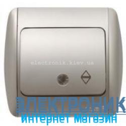 Выключатель 1клавишный проходной с подсветкой LED серый металлик EL-BI Zirve Silverline...