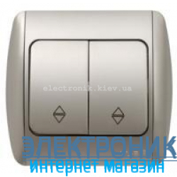 Выключатель 2-клавишный проходной серый металлик EL-BI Zirve Silverline