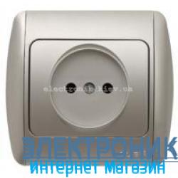 Розетка без заземления серый металлик EL-BI Zirve Silverline