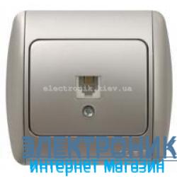 Розетка одинарная телефонная RJ11 серый металлик EL-BI Zirve Silverline