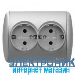 Розетка двойная с заземлением серый металлик EL-BI Zirve Silverline