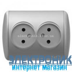 Розетка двойная без заземления серый металлик EL-BI Zirve Silverline