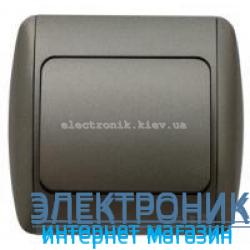 Выключатель 1-клавишный черный металлик EL-BI Zirve Silverline