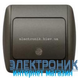 Выключатель 1-клавишный с подсветкой.LED черный металлик EL-BI Zirve Silverline