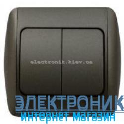 Выключатель 2-клавишный черный металлик EL-BI Zirve Silverline