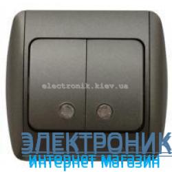 Выключатель 2-клавишный с подсветкой.LED черный металлик EL-BI Zirve Silverline