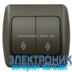 Выключатель 2-клавишный проходной черный металлик EL-BI Zirve Silverline