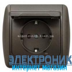 Розетка с заземлением с крышкой черный металлик EL-BI Zirve Silverline
