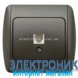 Розетка одинарная телефонная RJ11 черный металлик EL-BI Zirve Silverline