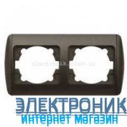 Рамка 2 поста черный металлик EL-BI Zirve Silverline