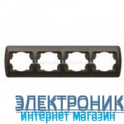 Рамка 4 поста черный металлик EL-BI Zirve Silverline