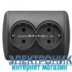 Розетка двойная с заземлением черный металлик EL-BI Zirve Silverline
