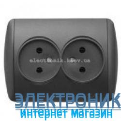 Розетка двойная без заземления черный металлик EL-BI Zirve Silverline