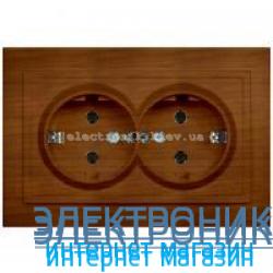Розетка 2-я с заземлением EL-BI Zena Woodline Вишня