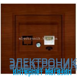 Механизм Розетка телефонная EL-BI Zena Woodline Темный орех
