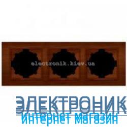 Рамка 3-я EL-BI Zena Woodline Темный орех