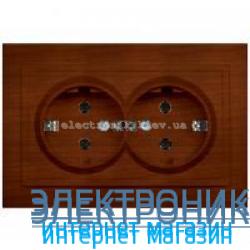 Розетка 2-я с заземлением EL-BI Zena Woodline Темный орех