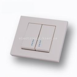 Выключатель двухклавишный с подсветкой Grano крем