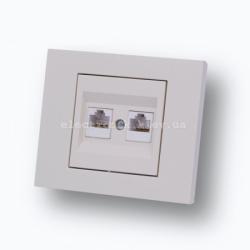 Розетка компьютер + телефон (разъемRJ45 CAT 6+RJ 11) Grano крем