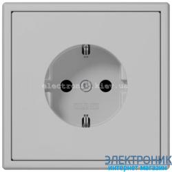 Розетка с заземлением JUNG LS990 светло-серый