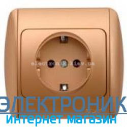 Розетка с заземлением матовое золото EL-BI Zirve Silverline