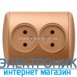 Розетка двойная с заземлением матовое золото EL-BI Zirve Silverline