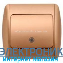 Выключатель 1-клавишный с подсветкой.LED матовое золото EL-BI Zirve Silverline