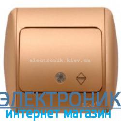 Выключатель 1клавишный проходной с подсветкой LED матовое золото EL-BI Zirve Silverline...