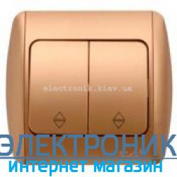 Выключатель 2-клавишный проходной матовое золото EL-BI Zirve Silverline