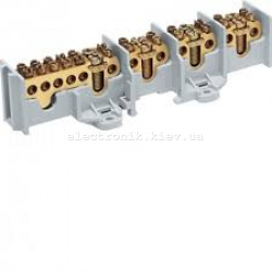 Клемма 4-полюсна, по 2 отвода на 3 пол и 6 на 1, сечение до 16/25мм2, размер 191x60x46мм Hager