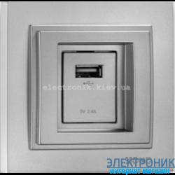 Розетка USB с зарядкой Despina серебро