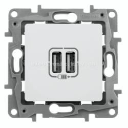 Розетка USB Legrand Etika для зарядки двойная белая