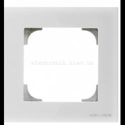 Рамка одинарная ABB SKY белое стекло