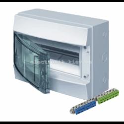 Шкаф электрический IP65 Mistral накладной 12 модулей, прозрачные двери, с винтовыми N/PE клеммами на 22 подключения.