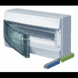Шкаф электрический IP65 Mistral накладной 18 модулей, прозрачные двери, с винтовыми N/PE клеммами на 32 подключения.
