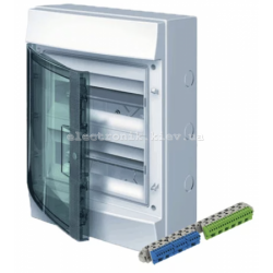 Шкаф электрический IP65 Mistral накладной 24 модуля , прозрачные двери, с винтовыми N/PE клеммами на 22 подключения.