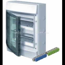 Шкаф электрический IP65 Mistral накладной 24 модуля, прозрачные двери, с винтовыми N/PE клеммами на 42 подключения.