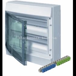 Шкаф электрический IP65 Mistral накладной 36 модулей 2 ряда, прозрачные двери, с винтовыми N/PE клеммами на 52 подключения.