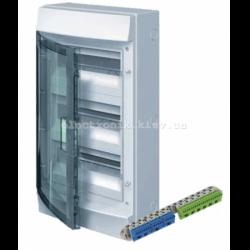 Шкаф электрический IP65 Mistral накладной 36 модулей 3ряда, прозрачные двери, с винтовыми N/PE клеммами на 42 подключения.